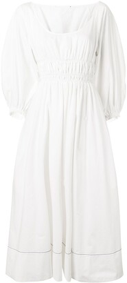 Proenza Schouler White Label Smocked Waist Poplin Dress