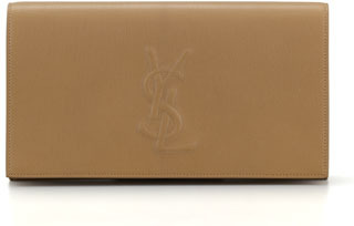 Saint Laurent Belle De Jour Large Leather Clutch Bag, Beige