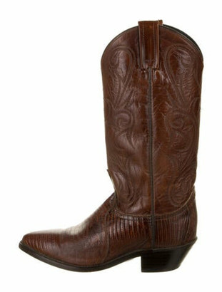 Dan Post Leather Lasercut Accents Western Boots Brown