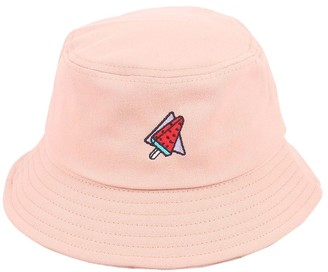 Wimagic 1x Fashion Bucket Hat Watermelon Embroidery Summer Sun Hat Cotton Foldable Wide Brim Sun Protection Beach Cap Outdoor Accessories for Women Girls - Black