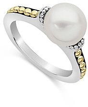 Lagos Sterling Silver & 18K Yellow Gold Luna Cultured Freshwater Pearl Ring
