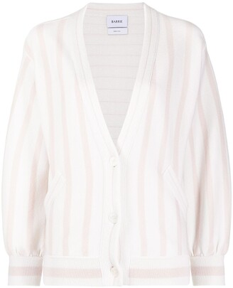 Barrie striped V-neck cashmere cardigan