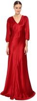 Alberta Ferretti 3/4 Sleeve V-Neck Satin Gown