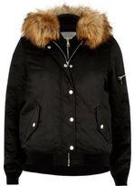 River Island Womens Black hooded bomber jacket