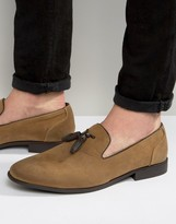Asos Tassel Loafer in Tan Faux Suede