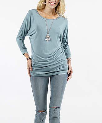 Lydiane Women's Tunics BLUEGREY - Blue Gray Long-Sleeve Ruched-Side Dolman Top - Women