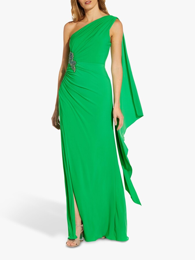 Adrianna Papell Asymmetric Neck Jersey Gown, Green