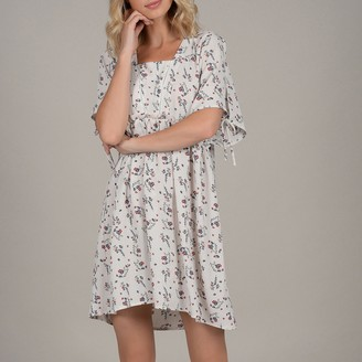 Molly Bracken Floral Print Loose Dress with Openwork