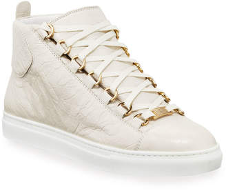 Balenciaga High-Top Calf Leather Sneakers, White