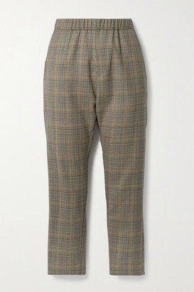 Nili Lotan Delancy Cropped Checked Wool Pants - Brown