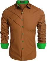 Coofandy Men's Fashion Slim Fit Dress Shirt Long Sleeve Casual Shirts