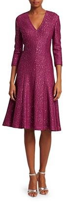 St. John Sequin Tweed V-Neck Dress