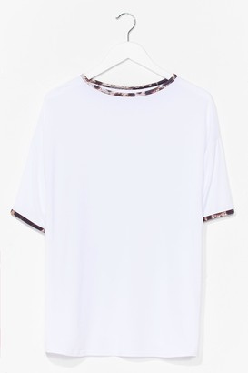 Nasty Gal Womens We Want Roar Leopard Ringer Tee - White