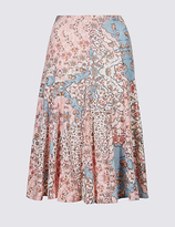 Classic Cotton Rich Floral Print A-Line Midi Skirt