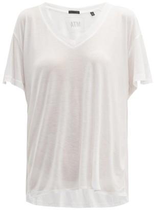 Atm - V Neck Modal Jersey T Shirt - Womens - White