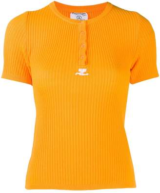 Courreges Pre-Owned knitted ribbed T-shirt