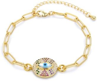 Eye Candy Los Angeles CZ Evil Eye Rainbow Charm Chain Link Bracelet