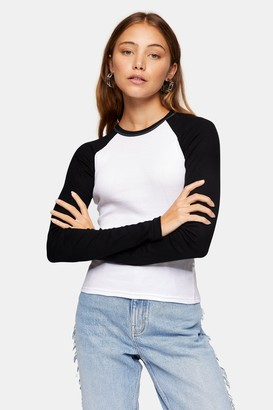 Topshop Womens Black And White Long Sleeve Baseball Top - Monochrome