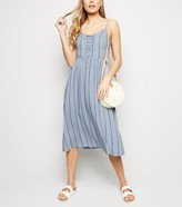 New Look Stripe Lace Up Front Midi Dress