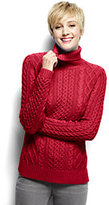Lands' End Women's Petite Lofty Blend Aran Cable Turtleneck Sweater-Opulent Cobalt