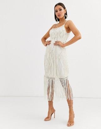 Asos Design DESIGN mini dress in fringe macrame-Beige