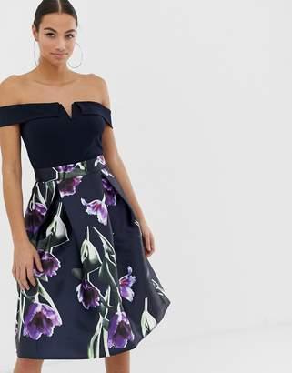 AX Paris bardot full skirt dress-Navy