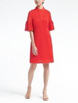 Banana Republic Flutter-Sleeve Lace Polo Dress