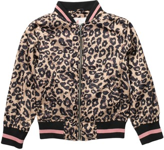 Urban Republic Sateen Leopard Print Bomber Jacket (Little Girls)