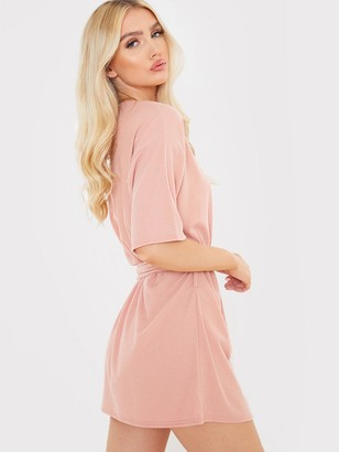 In The Style Brushed Rib Tie Waist T-Shirt Dress - Blush