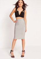 Missguided High Waisted Bandage Midi Skirt Grey