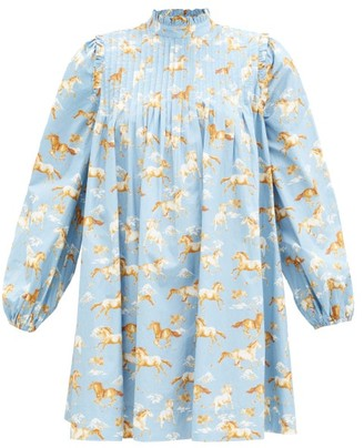 Ganni Horse-print Pintucked Cotton Smock Dress - Blue Multi