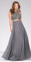 Jovani Mock Two Piece Rhinestone Encrusted Chiffon A-line Prom Dress