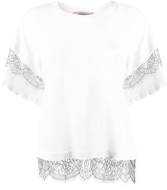 Twin-Set lace trimmed boxy T-shirt