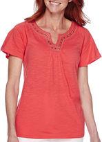 Sag Harbor Bahama Mama Short-Sleeve Embroidered Top