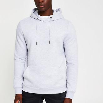 River Island Grey marl slim fit long sleeve hoodie