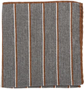 Eleventy Grey Striped Cotton & Wool Pocket Square