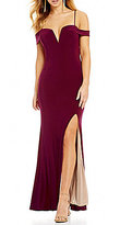 Jodi Kristopher Off-The-Shoulder Sweetheart Neck Long Dress
