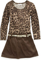 Bonnie Jean Dress, Little Girls Animal-Print Belted Drop-Waist