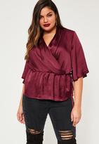 Missguided Plus Size Burgundy Satin Wrap Short Sleeve Blouse