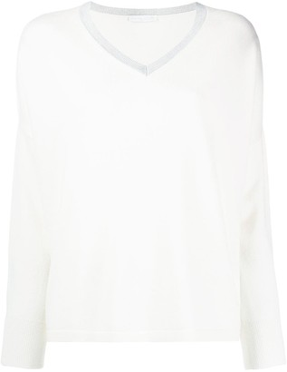 Fabiana Filippi V-neck contrast collar jumper
