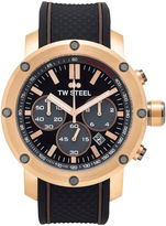 TW Steel Mens Chronograph Black and Rose Gold Tone Grandeur Tech Strap Watch