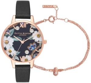 Olivia Burton Women's Bejewelled Florals Black Leather Strap Watch 34mm Gift Set