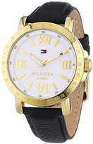 Tommy Hilfiger Women's 1781441 Black Leather Analog Quartz Watch with White Dial