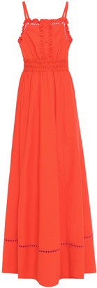 Philosophy di Lorenzo Serafini Lattice-trimmed Ruffled Cotton-poplin Maxi Dress