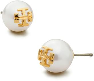 Tory Burch Crystal-Pearl Stud Earring