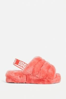 UGG Fluff Yeah Neon Coral Slide Sandals - Orange UK 4 at Urban Outfitters