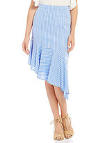Gianni Bini Juliette Asymmetric Ruffle Stripe Pencil Skirt
