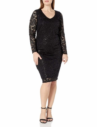 Marina Women's Size Long Sleeve Lace Cocktail Dress Plus