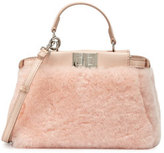 Fendi Peekaboo Micro Shearling Fur Satchel Bag, Light Rose Pink