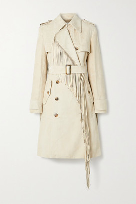 Michael Kors Collection Double-breasted Fringed Suede Trench Coat - Off-white